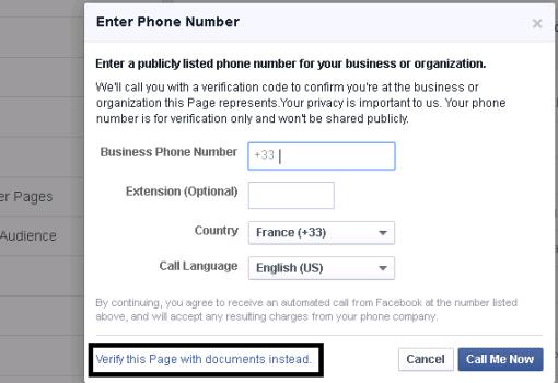 facebook page verification form